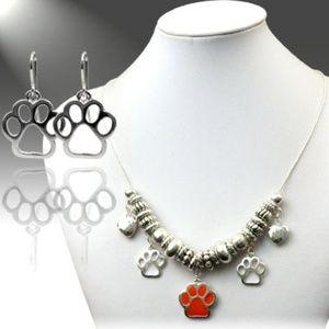 Orange Paw Necklace Set